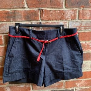 "4"" Inseam Navy Shorts with Belt"